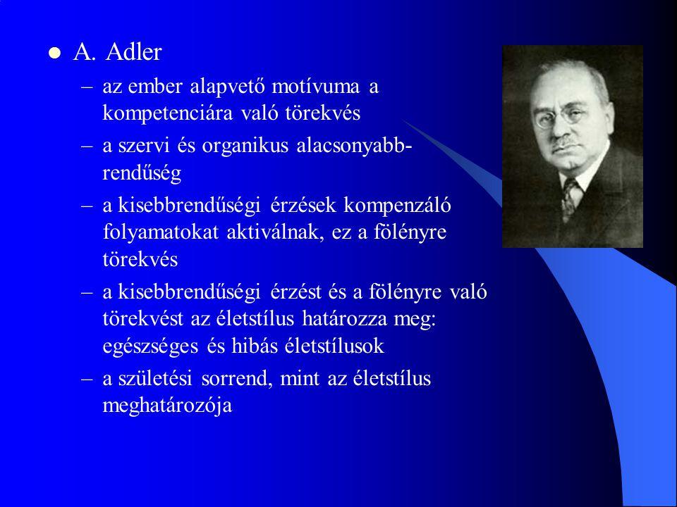 A. Adler az ember alapvető motívuma a kompetenciára való törekvés