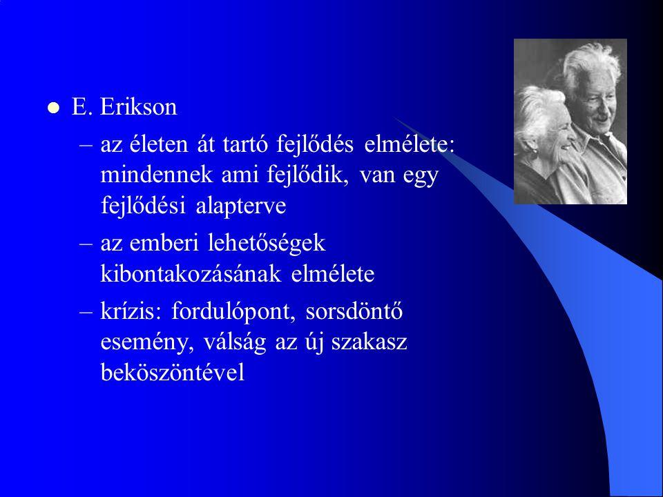 E. Erikson az életen át tartó fejlődés elmélete: mindennek ami fejlődik, van egy fejlődési alapterve.