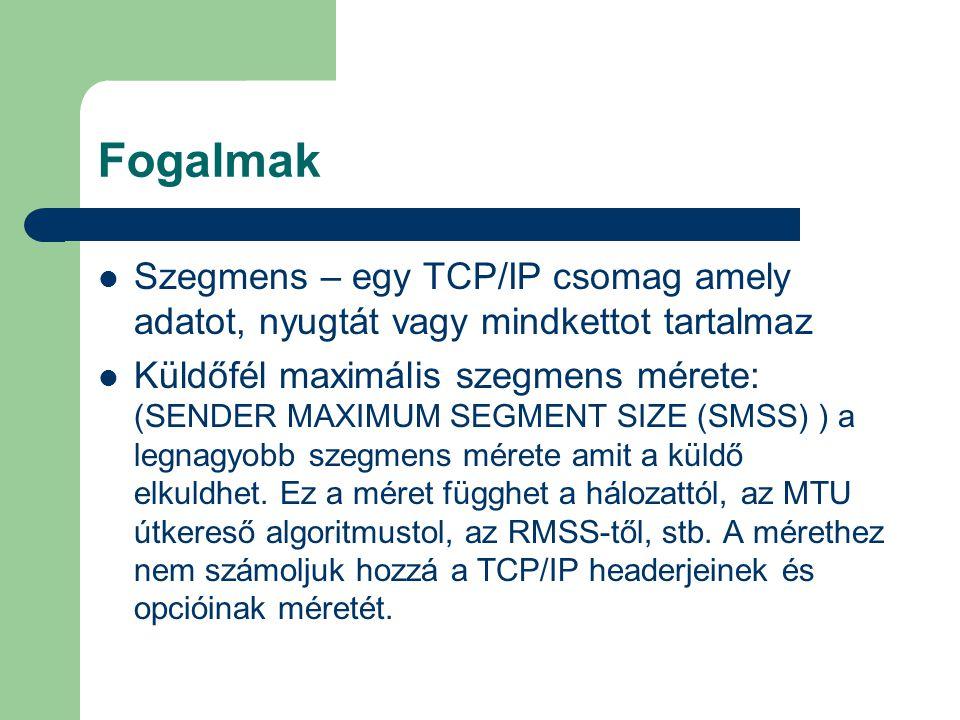 Fogalmak Szegmens – egy TCP/IP csomag amely adatot, nyugtát vagy mindkettot tartalmaz.