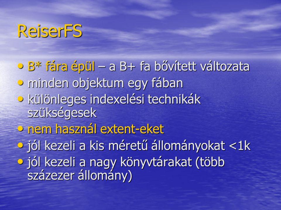 ReiserFS B* fára épül – a B+ fa bővített változata