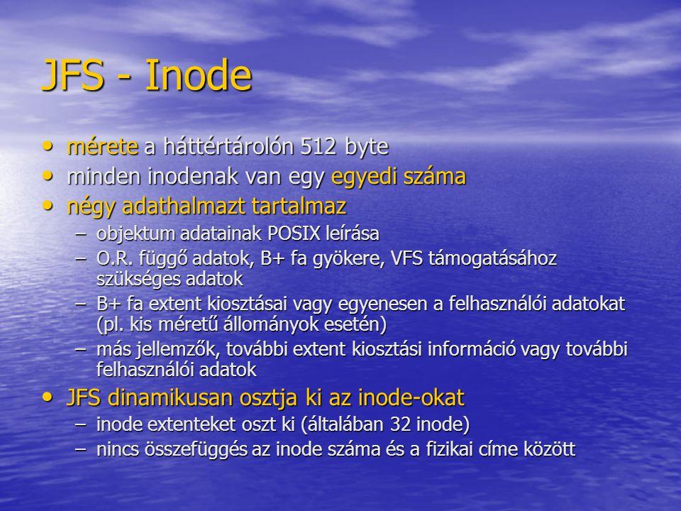 JFS - Inode mérete a háttértárolón 512 byte