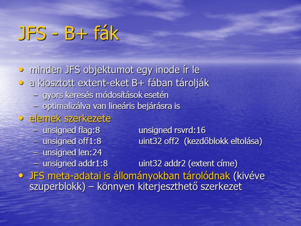 JFS - B+ fák minden JFS objektumot egy inode ír le