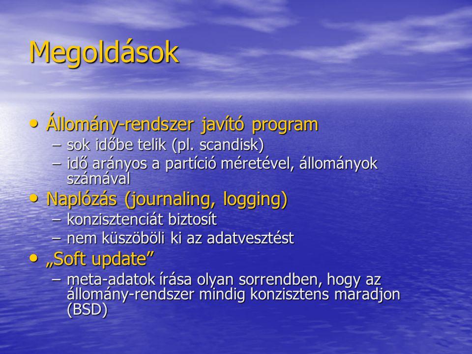 Megoldások Állomány-rendszer javító program