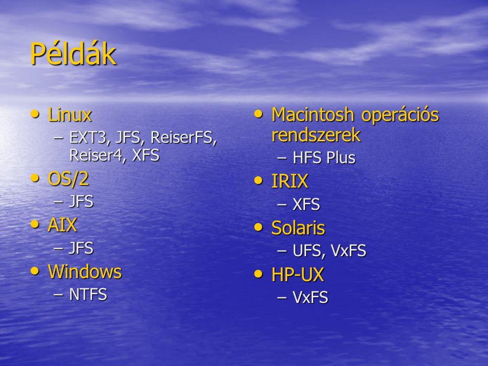 Példák Linux OS/2 AIX Windows Macintosh operációs rendszerek IRIX