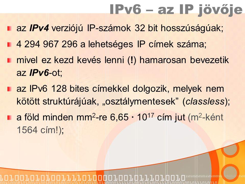 IPv6 – az IP jövője az IPv4 verziójú IP-számok 32 bit hosszúságúak;