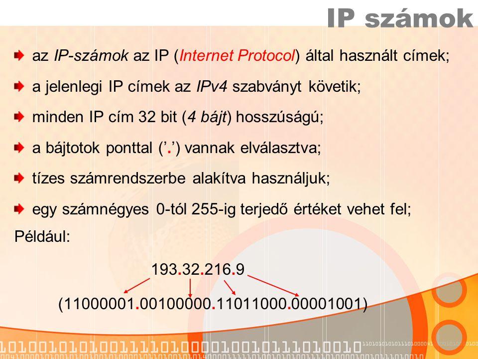 IP számok az IP-számok az IP (Internet Protocol) által használt címek;