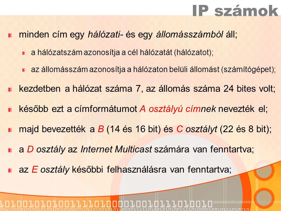 IP számok minden cím egy hálózati- és egy állomásszámból áll;