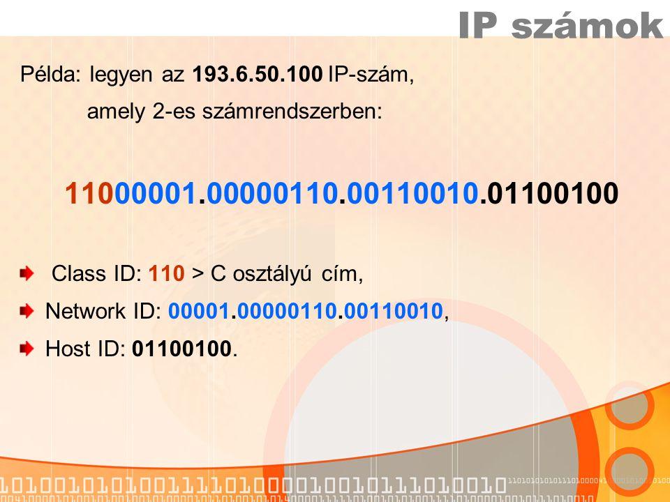 IP számok Példa: legyen az 193.6.50.100 IP-szám, amely 2-es számrendszerben: 11000001.00000110.00110010.01100100.