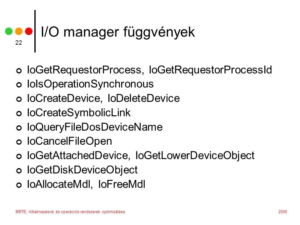 I/O manager függvények