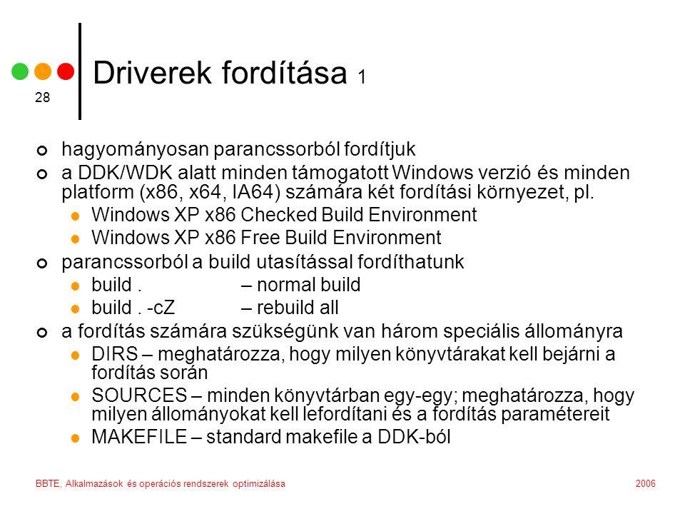Driverek fordítása 1 hagyományosan parancssorból fordítjuk