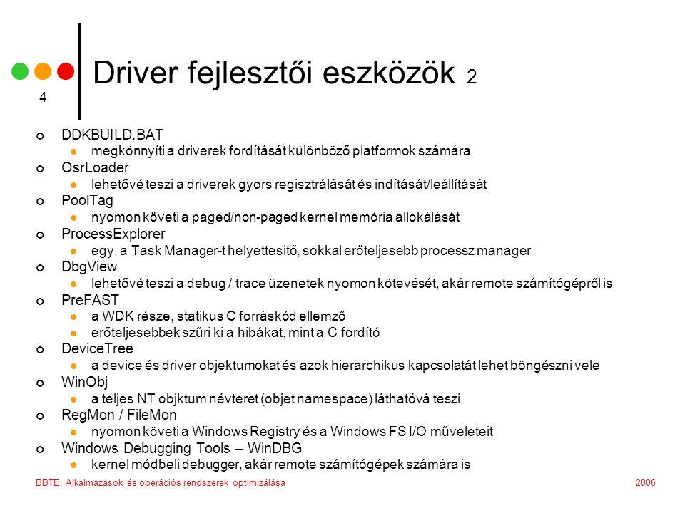 Driver fejlesztői eszközök 2