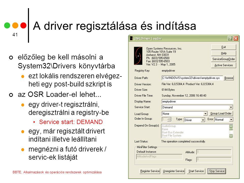 A driver regisztálása és indítása