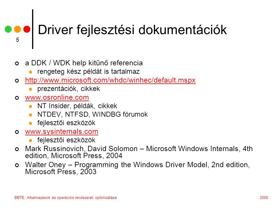 Driver fejlesztési dokumentációk
