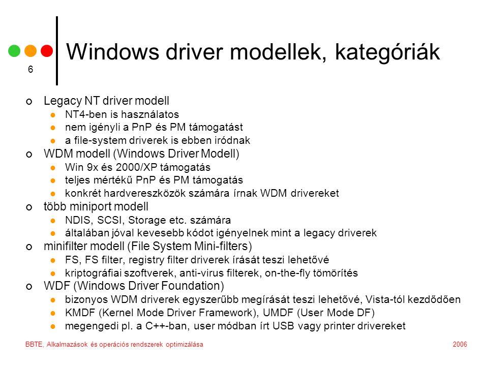 Windows driver modellek, kategóriák