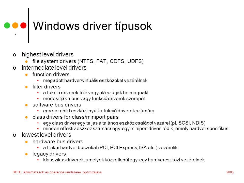 Windows driver típusok