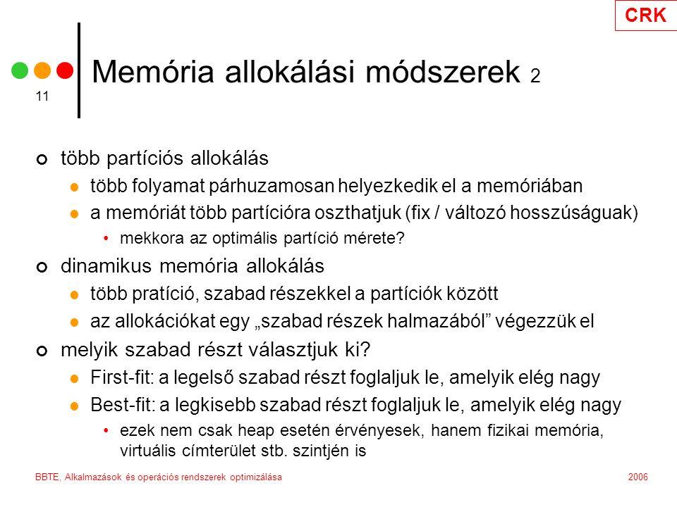 Memória allokálási módszerek 2