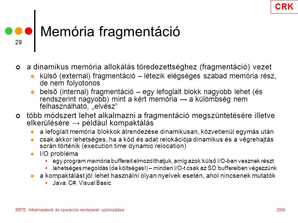 Memória fragmentáció a dinamikus memória allokálás töredezettséghez (fragmentáció) vezet.
