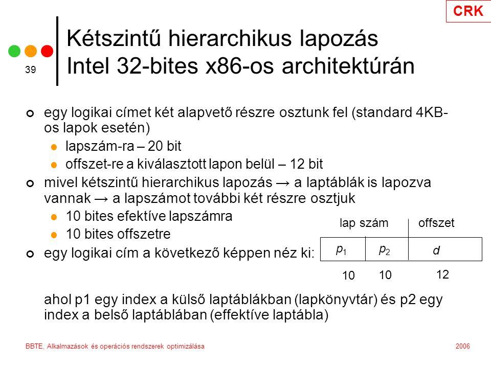 Kétszintű hierarchikus lapozás Intel 32-bites x86-os architektúrán