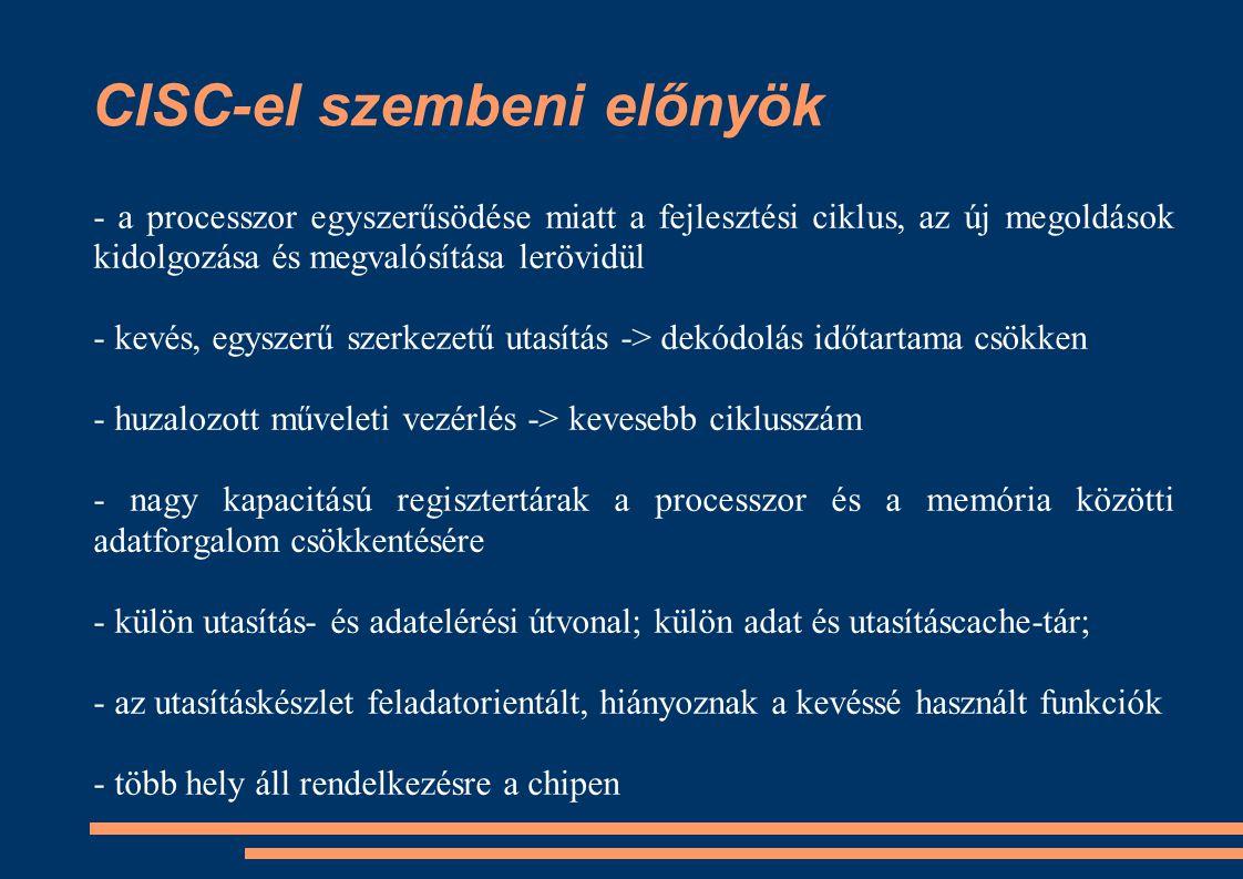 CISC-el szembeni előnyök