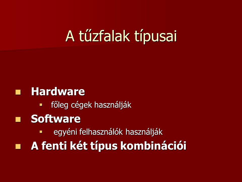 A tűzfalak típusai Hardware Software A fenti két típus kombinációi