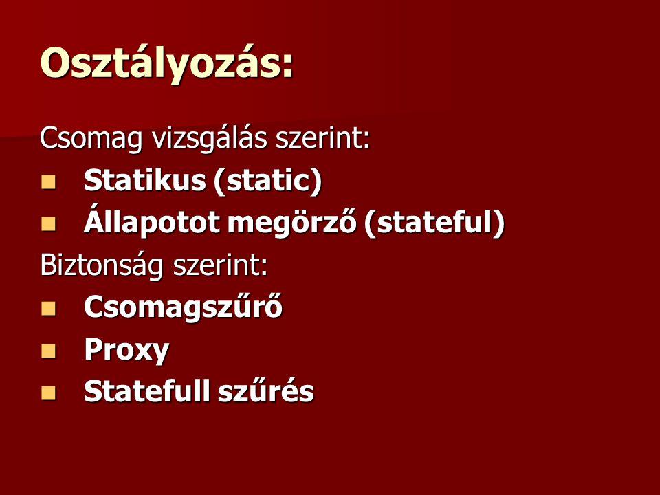 Osztályozás: Csomag vizsgálás szerint: Statikus (static)