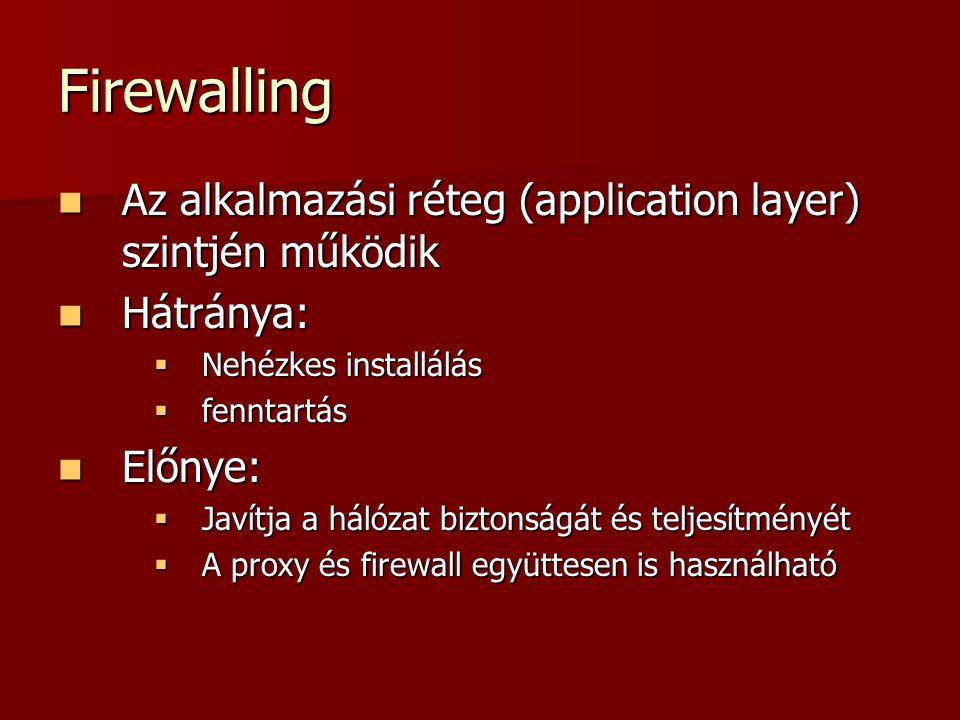 Firewalling Az alkalmazási réteg (application layer) szintjén működik