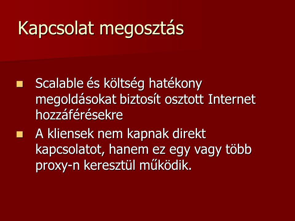 Kapcsolat megosztás Scalable és költség hatékony megoldásokat biztosít osztott Internet hozzáférésekre.