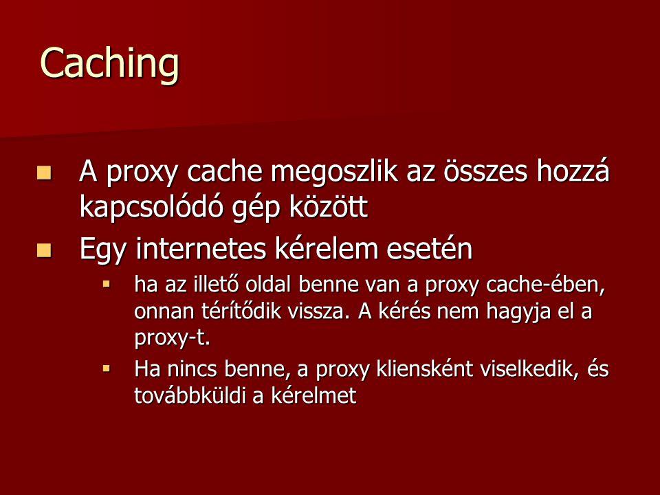 Caching A proxy cache megoszlik az összes hozzá kapcsolódó gép között