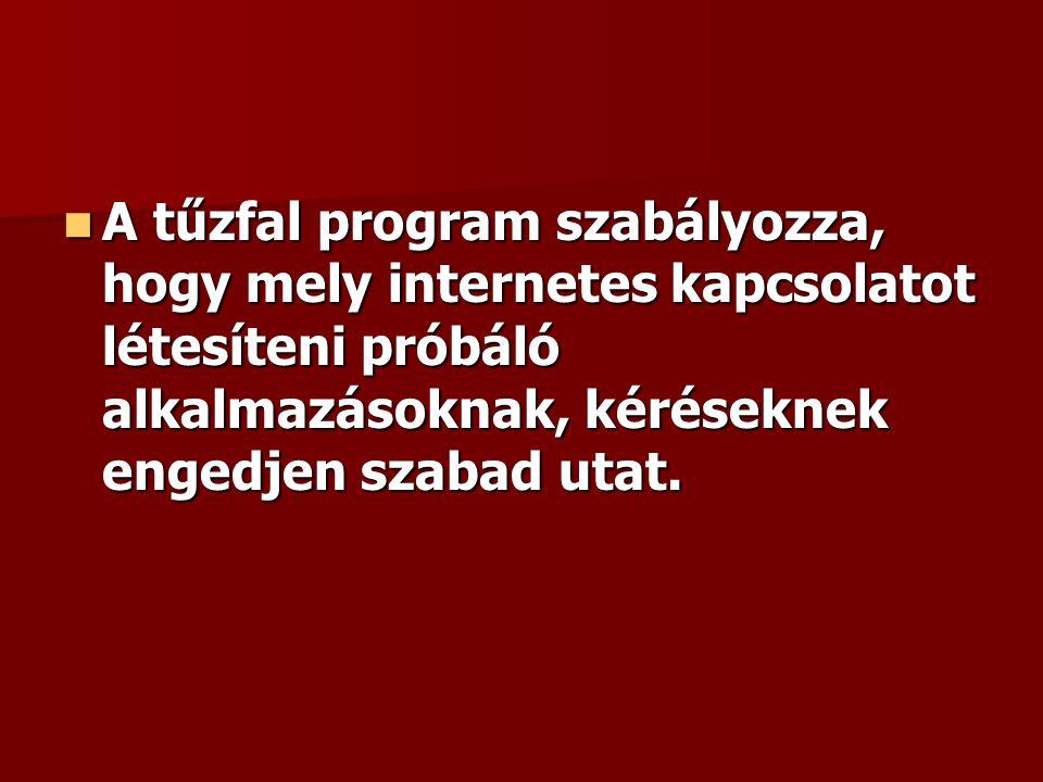 A tűzfal program szabályozza, hogy mely internetes kapcsolatot létesíteni próbáló alkalmazásoknak, kéréseknek engedjen szabad utat.