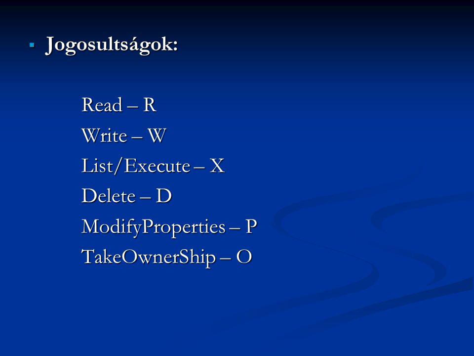 Jogosultságok: Read – R. Write – W. List/Execute – X.