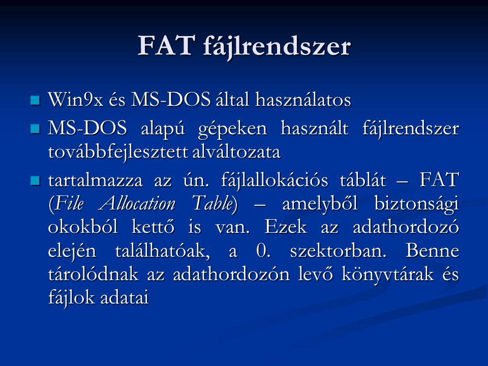 FAT fájlrendszer Win9x és MS-DOS által használatos