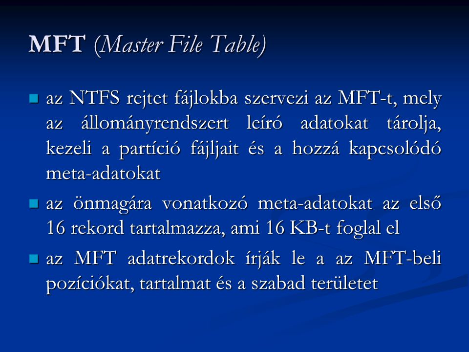 MFT (Master File Table)