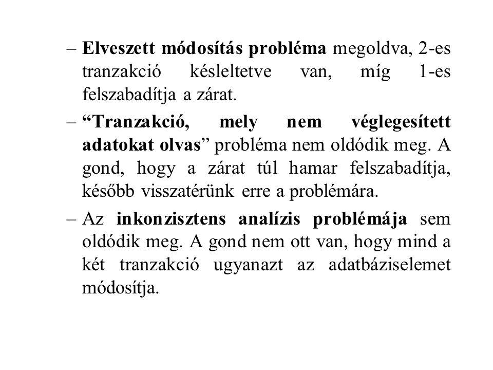 Elveszett módosítás probléma megoldva, 2-es tranzakció késleltetve van, míg 1-es felszabadítja a zárat.