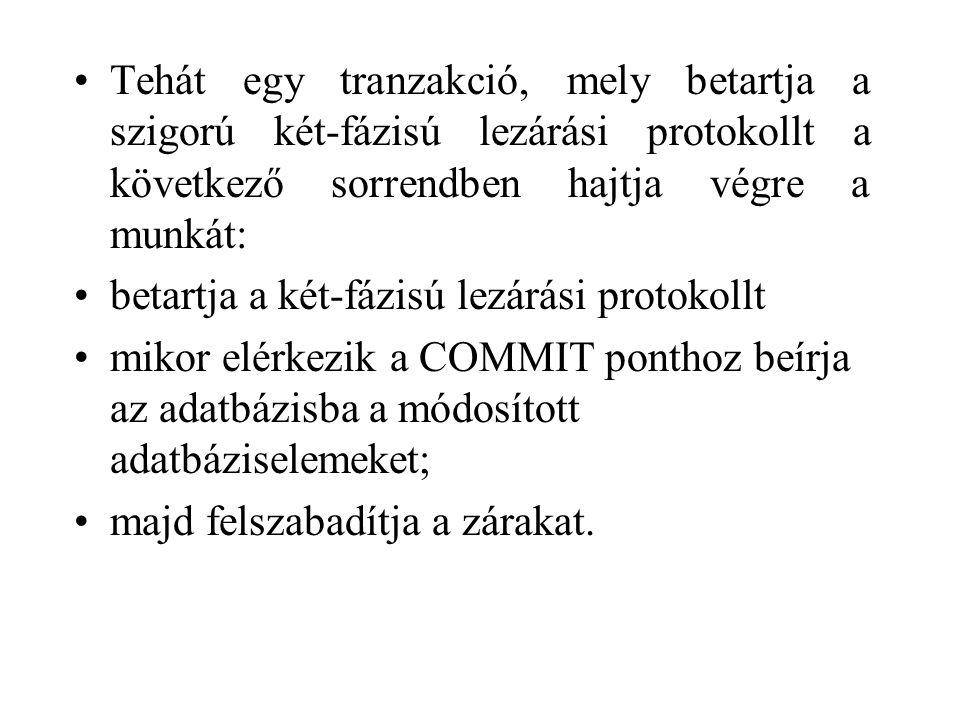 Tehát egy tranzakció, mely betartja a szigorú két-fázisú lezárási protokollt a következő sorrendben hajtja végre a munkát: