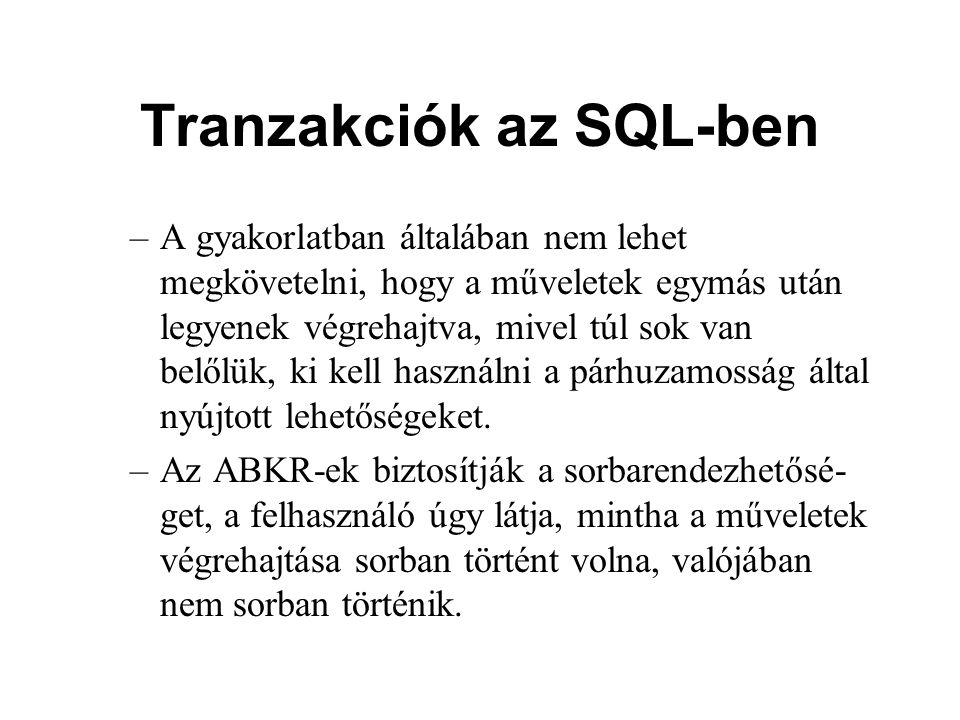 Tranzakciók az SQL-ben