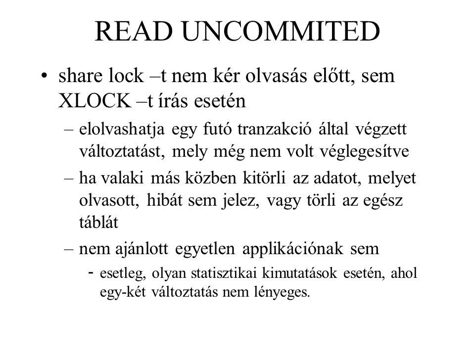 READ UNCOMMITED share lock –t nem kér olvasás előtt, sem XLOCK –t írás esetén.