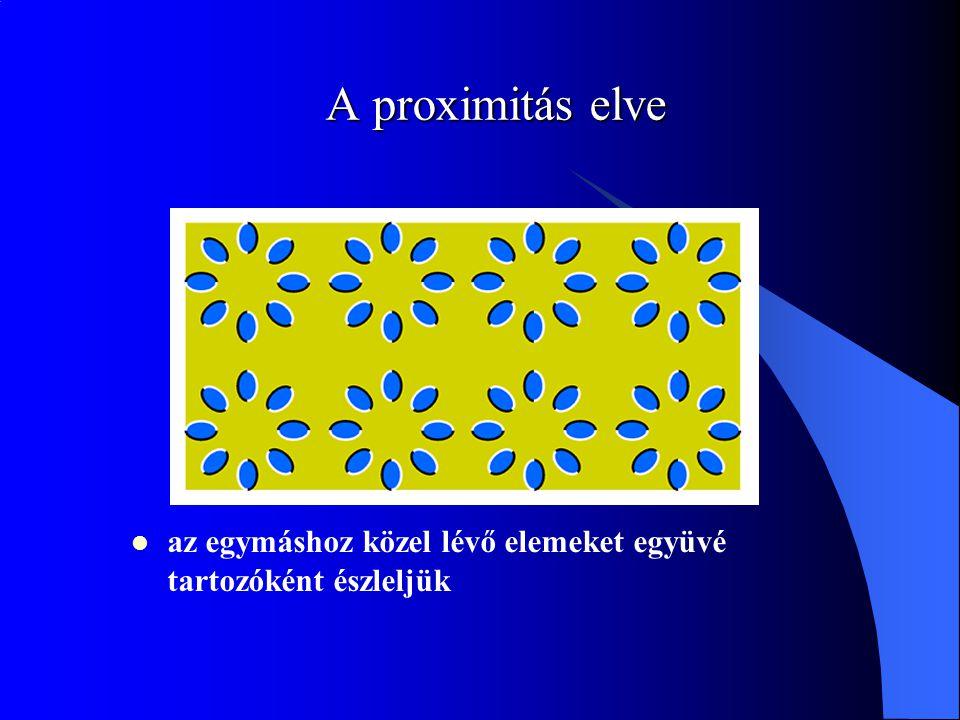 A proximitás elve az egymáshoz közel lévő elemeket együvé tartozóként észleljük