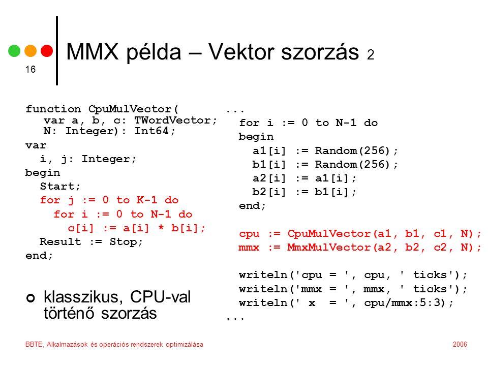 MMX példa – Vektor szorzás 2