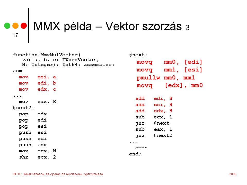 MMX példa – Vektor szorzás 3