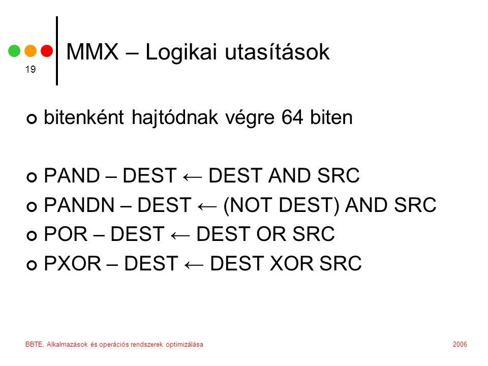 MMX – Logikai utasítások