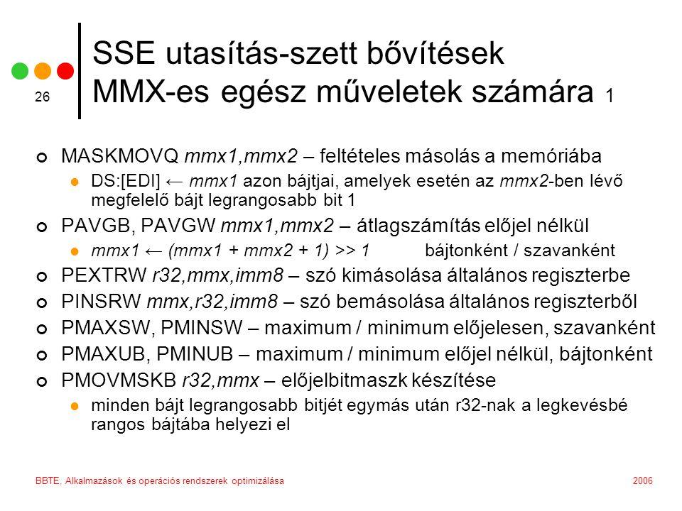 SSE utasítás-szett bővítések MMX-es egész műveletek számára 1