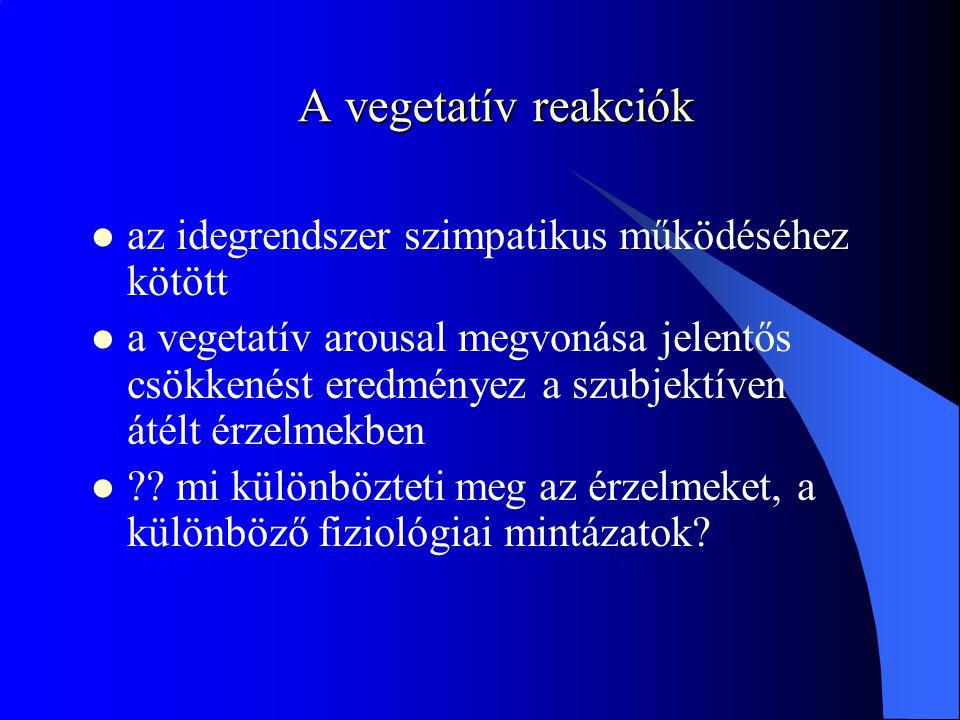 A vegetatív reakciók az idegrendszer szimpatikus működéséhez kötött