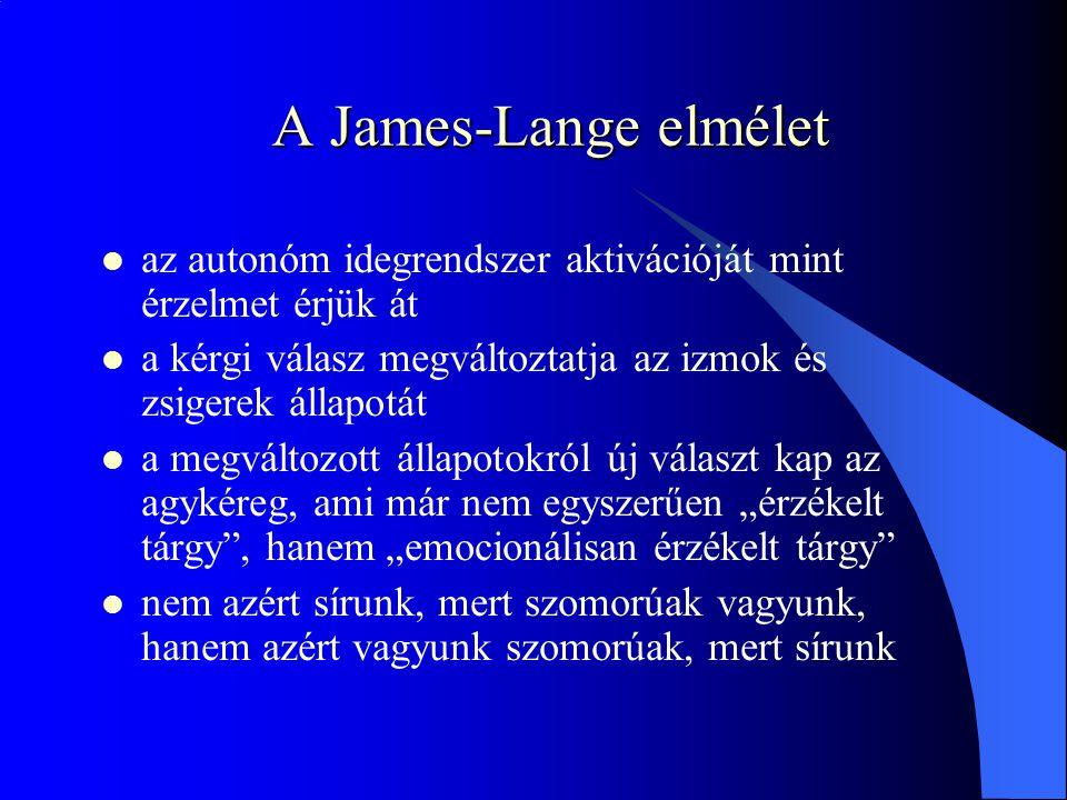 A James-Lange elmélet az autonóm idegrendszer aktivációját mint érzelmet érjük át. a kérgi válasz megváltoztatja az izmok és zsigerek állapotát.