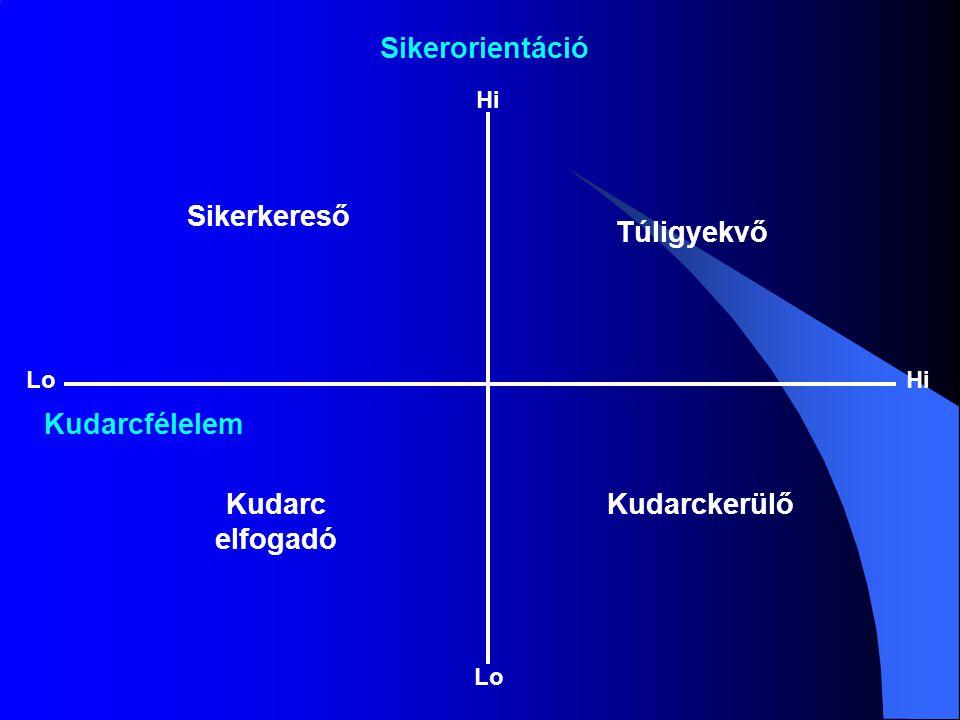 Sikerorientáció Sikerkereső Túligyekvő Kudarcfélelem Kudarc elfogadó