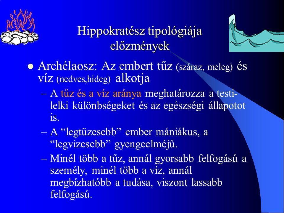 Hippokratész tipológiája előzmények