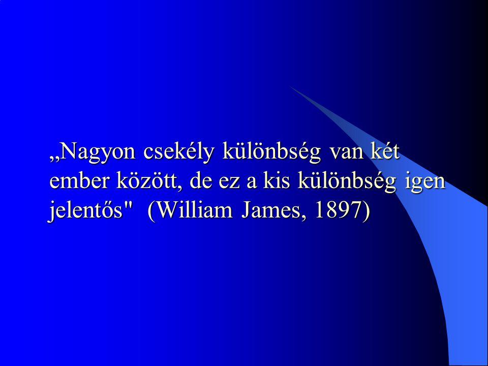 """""""Nagyon csekély különbség van két ember között, de ez a kis különbség igen jelentős (William James, 1897)"""