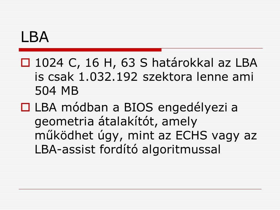 LBA 1024 C, 16 H, 63 S határokkal az LBA is csak 1.032.192 szektora lenne ami 504 MB.