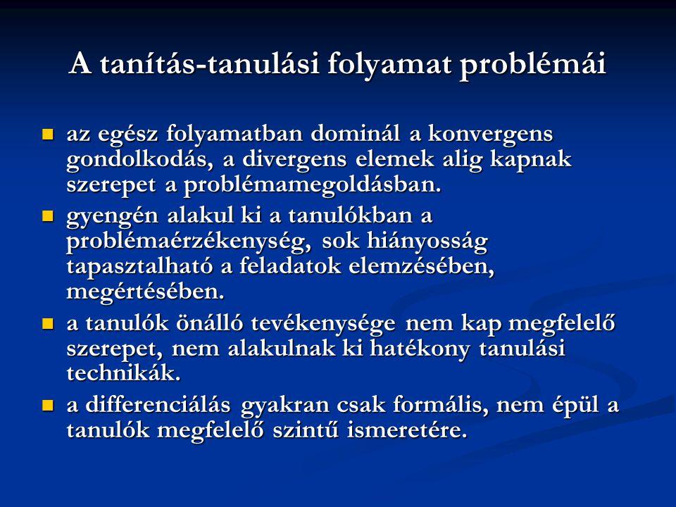 A tanítás-tanulási folyamat problémái