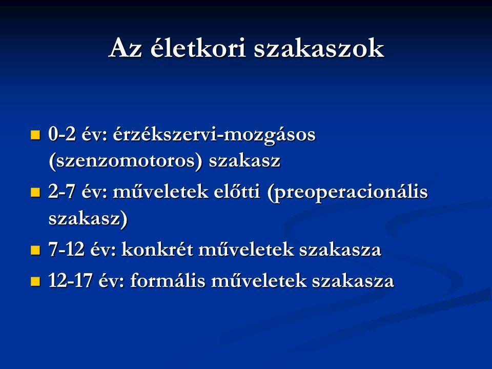 Az életkori szakaszok 0-2 év: érzékszervi-mozgásos (szenzomotoros) szakasz. 2-7 év: műveletek előtti (preoperacionális szakasz)