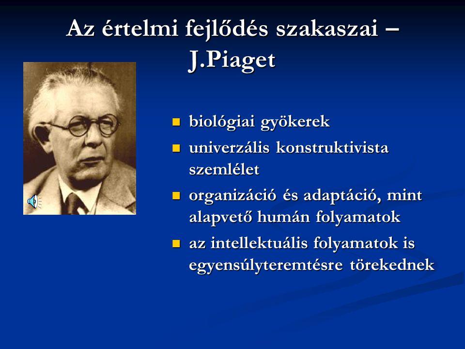 Az értelmi fejlődés szakaszai – J.Piaget